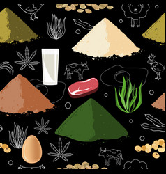 sports nutrition seamless pattern protein food vector image