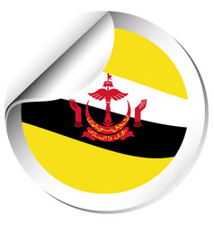 Sticker design for flag of brunei vector