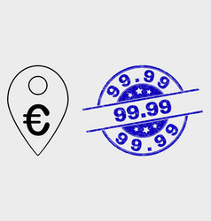 stroke euro map marker icon and distress 99 vector image