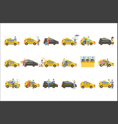 taxi drivers and their clients set vector image