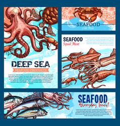 Templates for seafood or fish food products vector