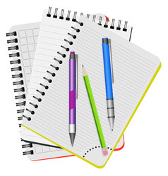 three notebooks and three pens vector image