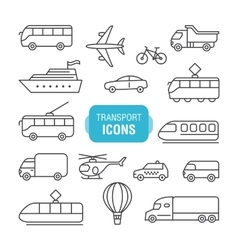 Transportation line icons set vector