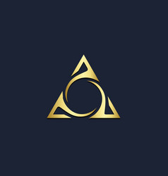 Triangle circle abstract gold logo vector
