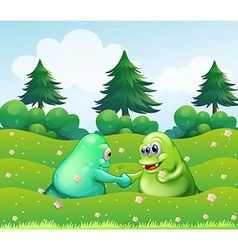 Two monsters handshaking vector