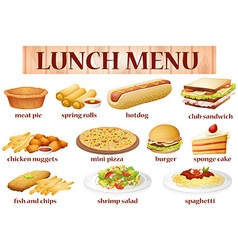 various kind food for lunch vector image
