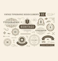 vintage typographic design elements set vector image