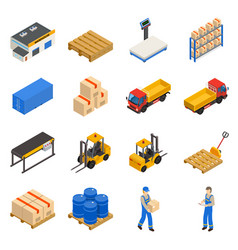 Warehouse isometric decorative icons set vector