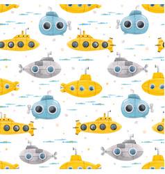 Watercolor underwater submarine pattern vector