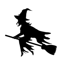 Witch flying with broomstick cartoon vector