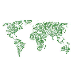Worldwide map mosaic of plant leaf items vector