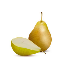 yellow pear and slice3d icon vector image