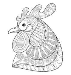 Zentangle Cartoon rooster vector