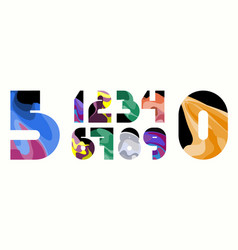 Zrych colorful wavy numbers vector