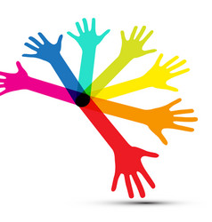 colorful human palm hands isolated on white vector image vector image
