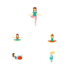 flat icon pregnancy set of sport pregnant woman vector image vector image