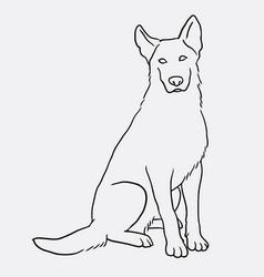 german shepherd sitting pet dog doodle style vector image vector image