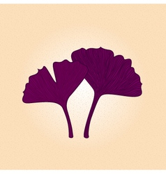 Purple gingko leaf isolated on brown background vector image