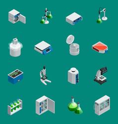 scientific laboratory equipment isometric icons vector image