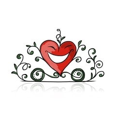 Valentine day heart shape carriage sketch for vector image