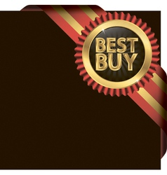 Best buy golden label with ribbons vector image vector image