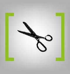 scissors sign black scribble vector image