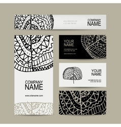 Business cards collection ethnic ornament for vector image vector image