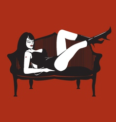Girl in a red room vector image