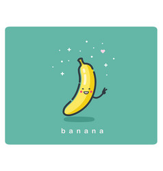 icon of banana fruit funny cartoon character vector image vector image