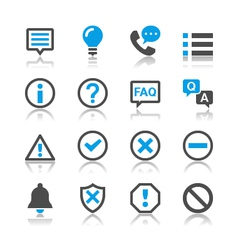 Information and notification icons reflection vector