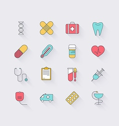 Line icons set in flat design Elements of medicine vector image