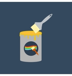 Paint can and brush vector image vector image