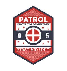 Snow patrol first aid unit isolated label vector
