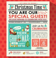Christmas party poster invite in newspaper style vector image vector image