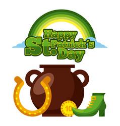 happy st patricks day cauldron horseshoe coin and vector image