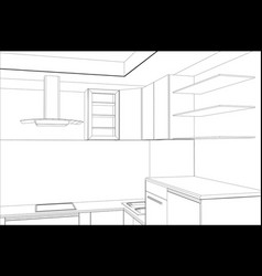sketch plan kitchen in the wire vector image