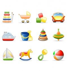 toys icon set vector image vector image