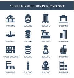 16 buildings icons vector