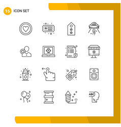16 thematic outlines and editable symbols work vector