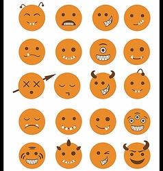 20 smiles vampires icons set orange vector