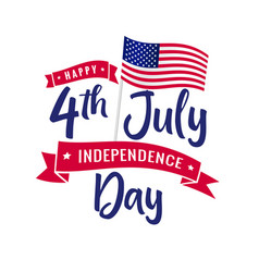 4th july independence day usa calligraphy vector