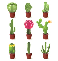 9 cactuses icons set vector