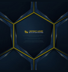 Abstract gradient blue modern luxury on gold line vector