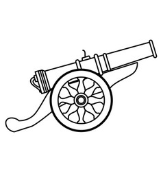 Antique canon with wheels weapon cartoon in black vector