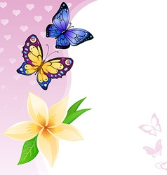 Background of colorful butterflies and flower vector
