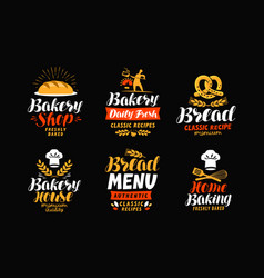 Bakery bakehouse logo or label bread home vector