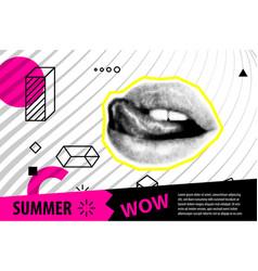 banner for sale modern hipster pop art open mouth vector image