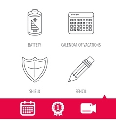 Battery calendar and pencil icons vector