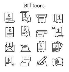 bill receipt invoice contract icon set in thin vector image