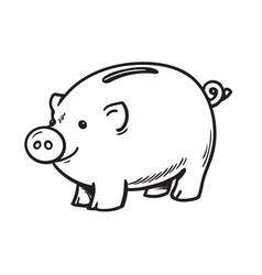 black and white sketch of funny piggy bank vector image